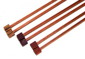 Block Knitting Needles made from reclaimed lumber.
