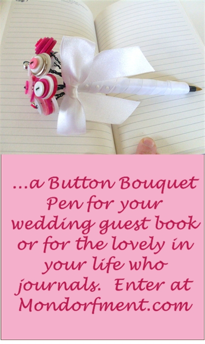 Win a Button Bouquet Pen for your Wedding or Journal by Angelas Artistic