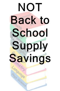 Not back to school supply savings list