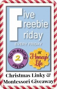 5 Freebie Friday Christmas Linky with Montessori Giveaway at HoneysLife.com