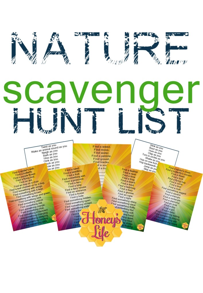 Nature Scavenger Hunt List for kids by Honey of Honey's Life
