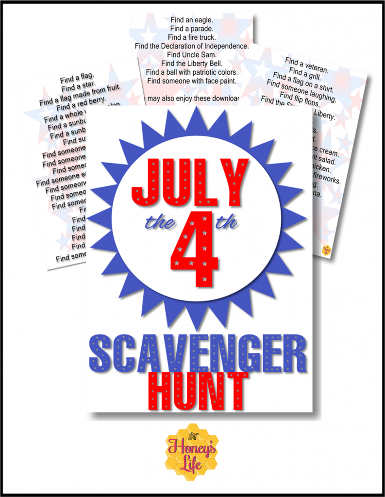 4th of July for Kids Scavenger Hunt List